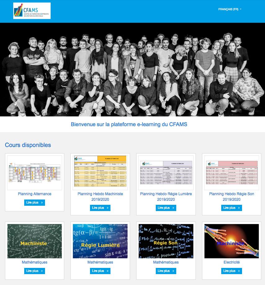 Capture d'écran de la plateforme pédagogique numérique